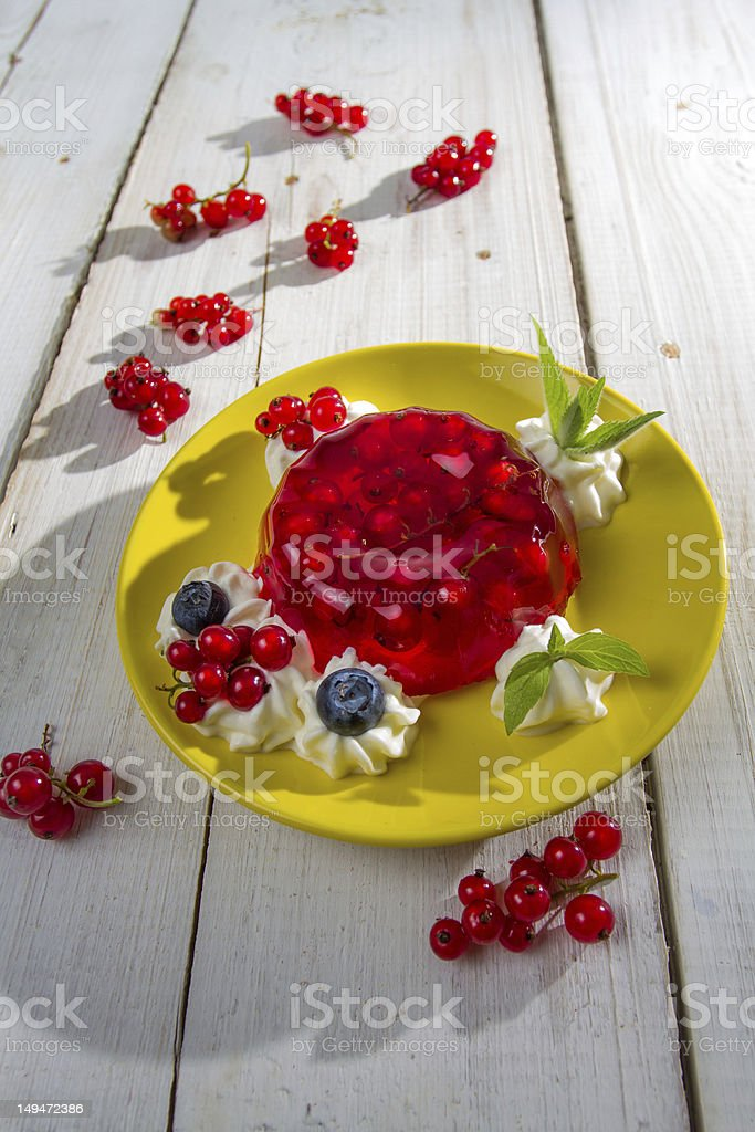 Red currant jelly and mint leaves royalty-free stock photo