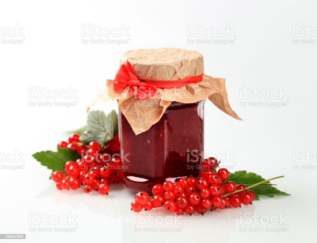 Red currant preserve stock photo