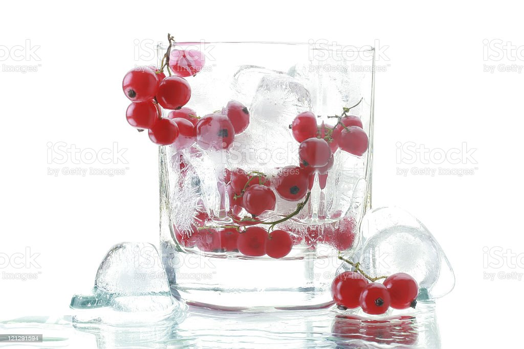 Red currant with an ice stock photo