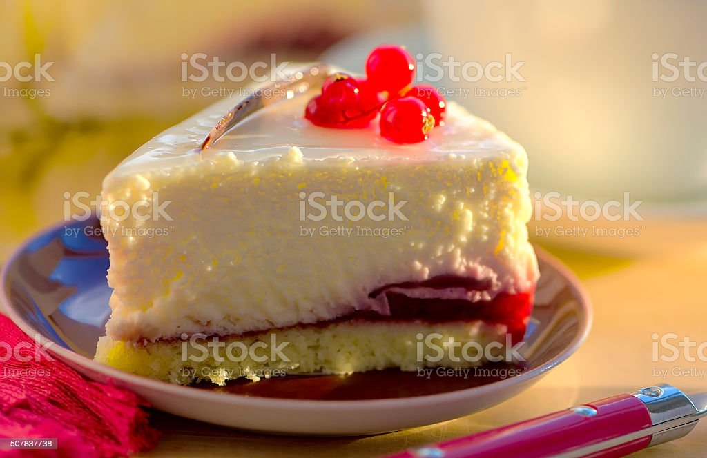 Red currants cheesecake stock photo