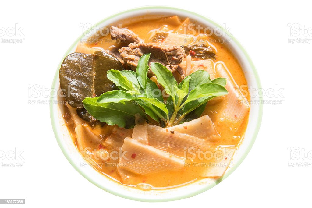 Red Curry beef with Bamboo Shoots stock photo