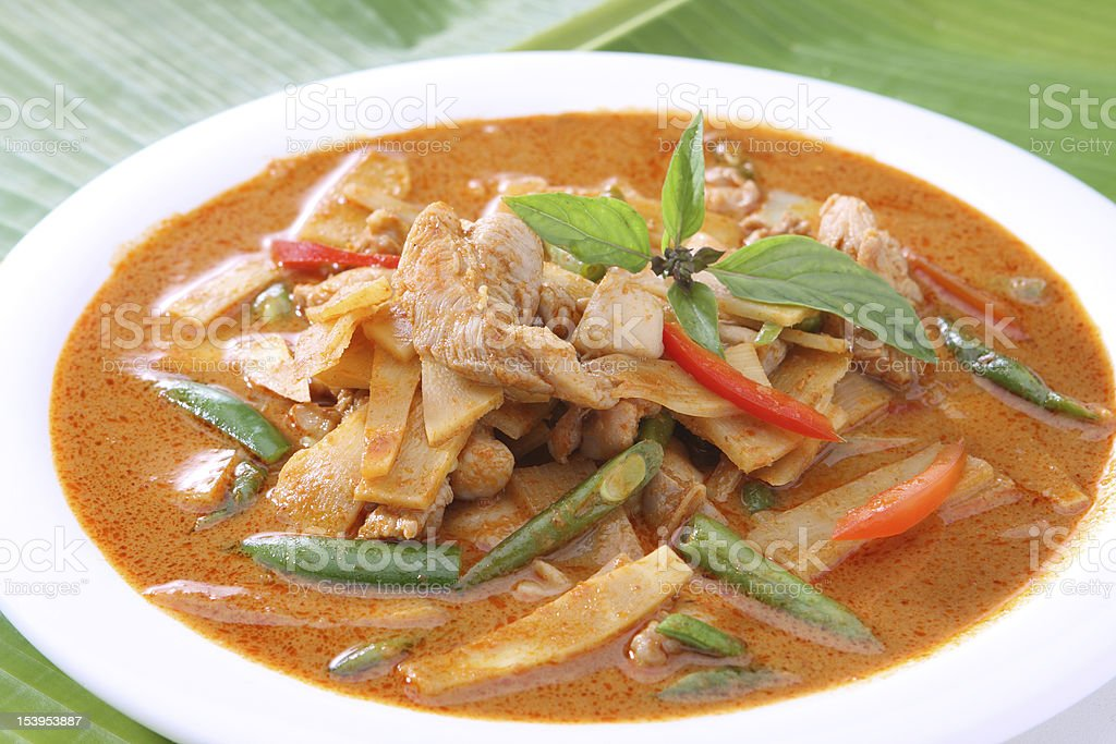 Red Curry Chicken with Bamboo Shoots and Green Beans stock photo