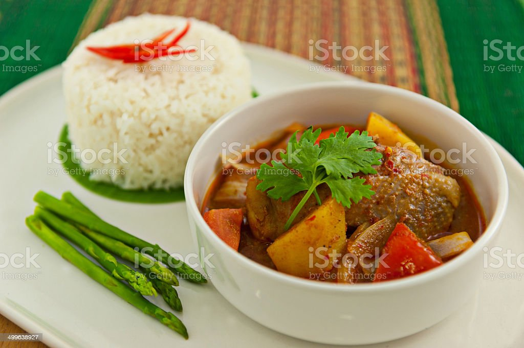 Red curry chicken with rice stock photo