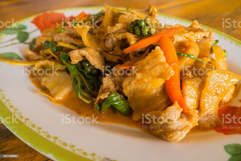 Red curry with boar stock photo