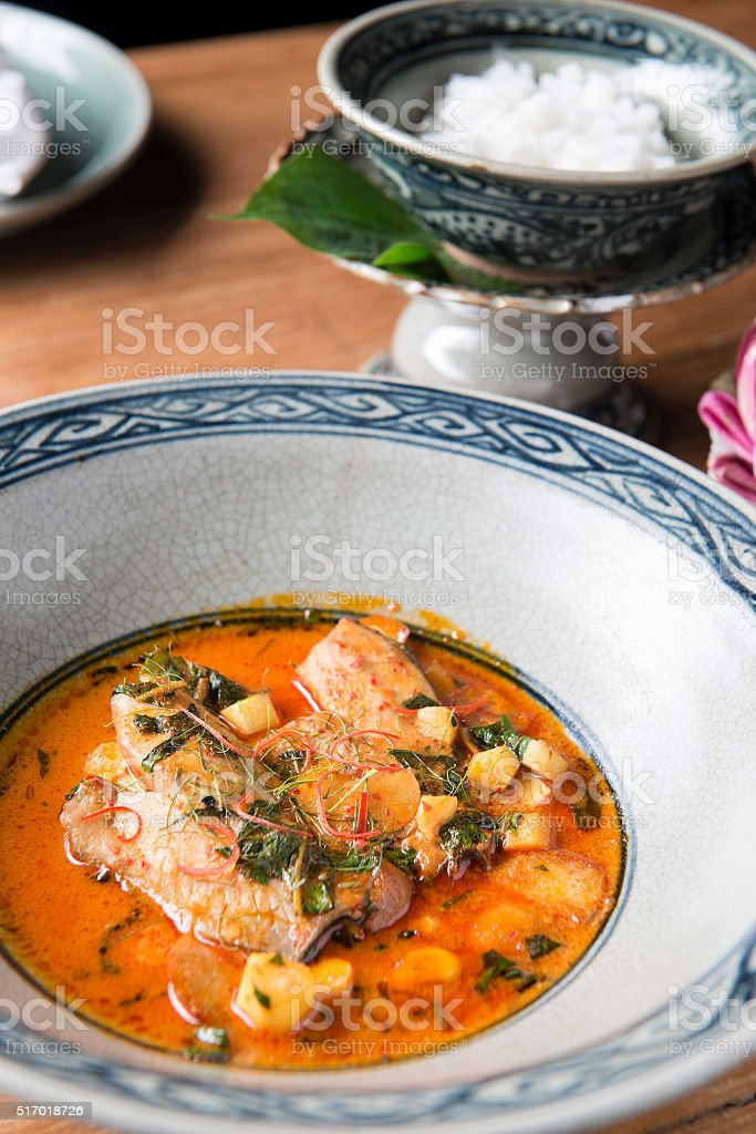 red curry with Thai aubergines stock photo