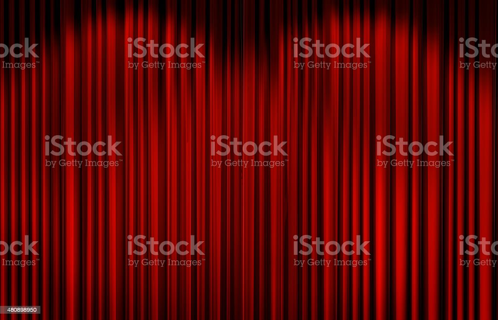 Red curtain in theater. stock photo