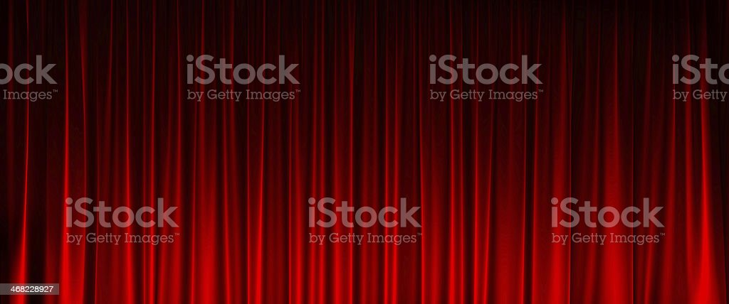 Red Curtain widescreen texture stock photo
