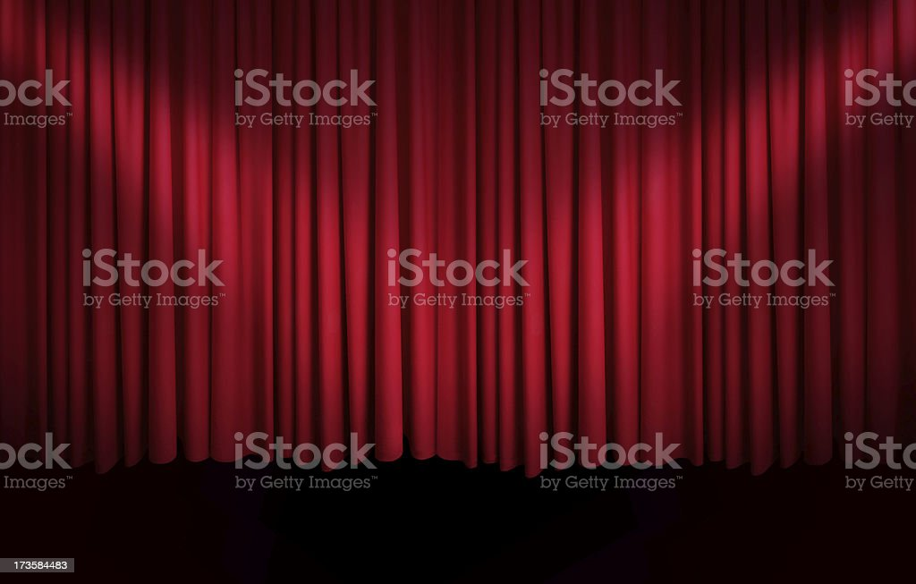 Red Curtain with Spotlights royalty-free stock photo