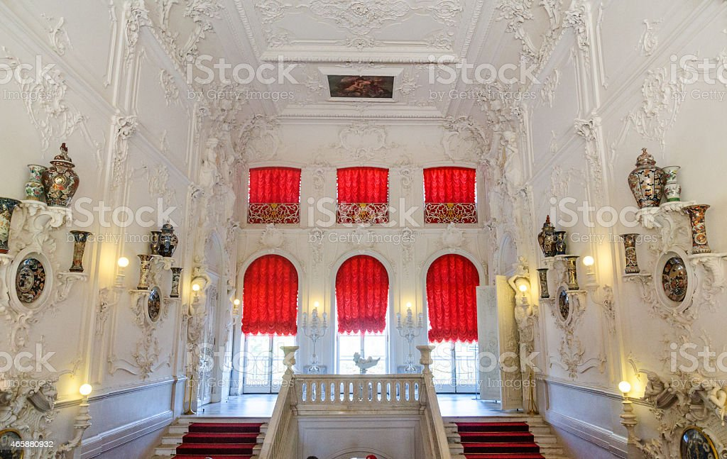 red curtains in palace interior stock photo