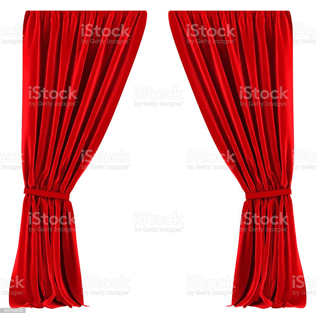 Red Curtains Isolated stock photo