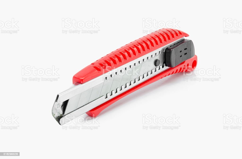 Red cutter on white background. stock photo