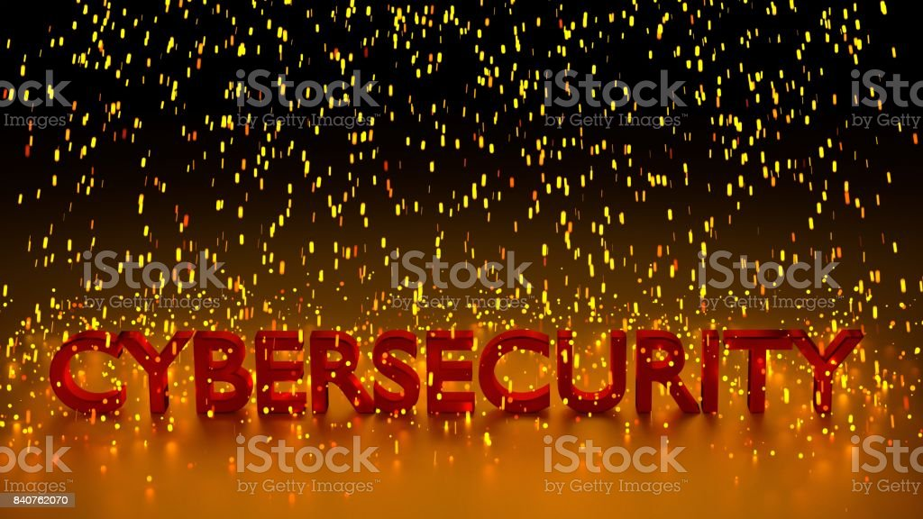 Rain of glowing sparks over the red word cybersecurity in dark...