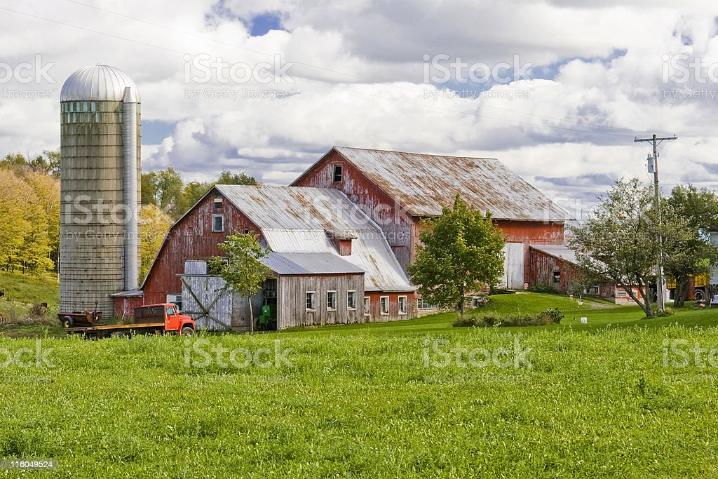 Red Dairy Barn in Autumn royalty-free stock photo