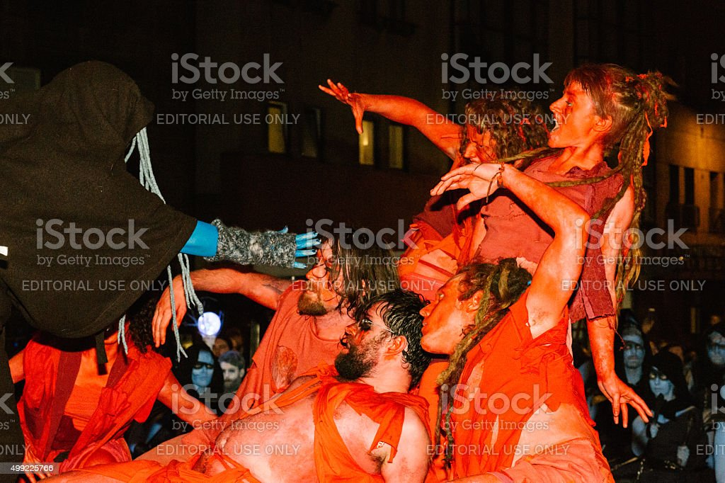 Red Dancers at the Samhuinn Fire Festival, Edinburgh stock photo