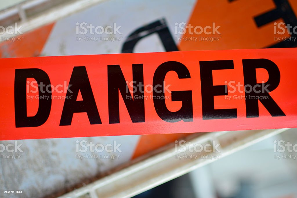Red Danger sign Tape stock photo