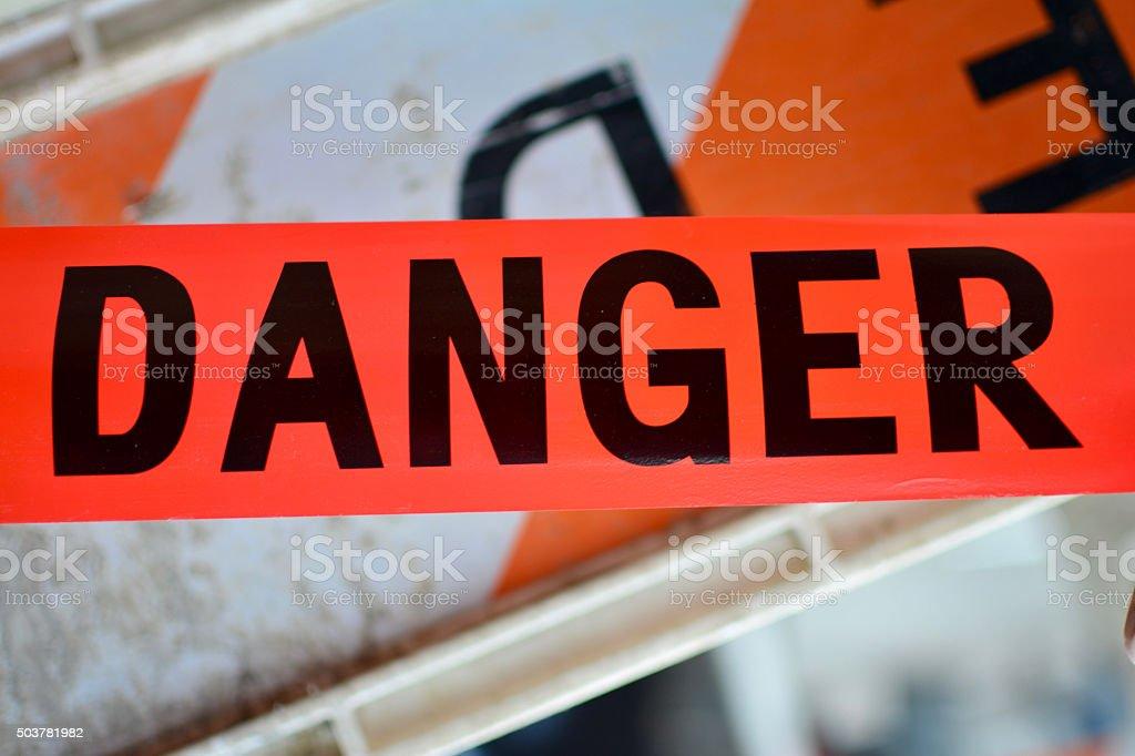 Red Danger sign Tape stock photo