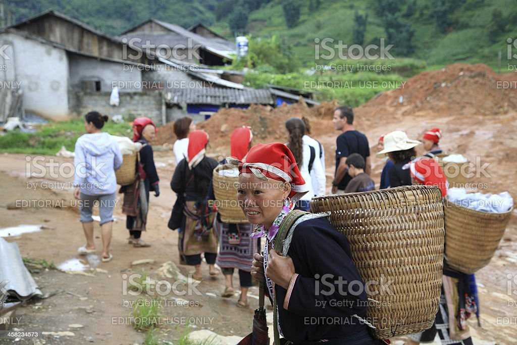 Red Dao hill tribes in their village royalty-free stock photo