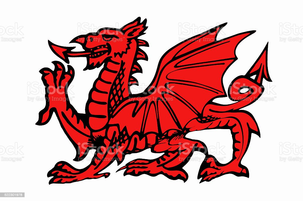 Red Daragon of Wales - Isolated stock photo