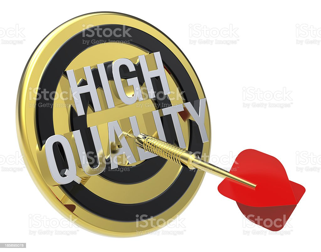 Red dart hiting a gold target with text on it. royalty-free stock photo