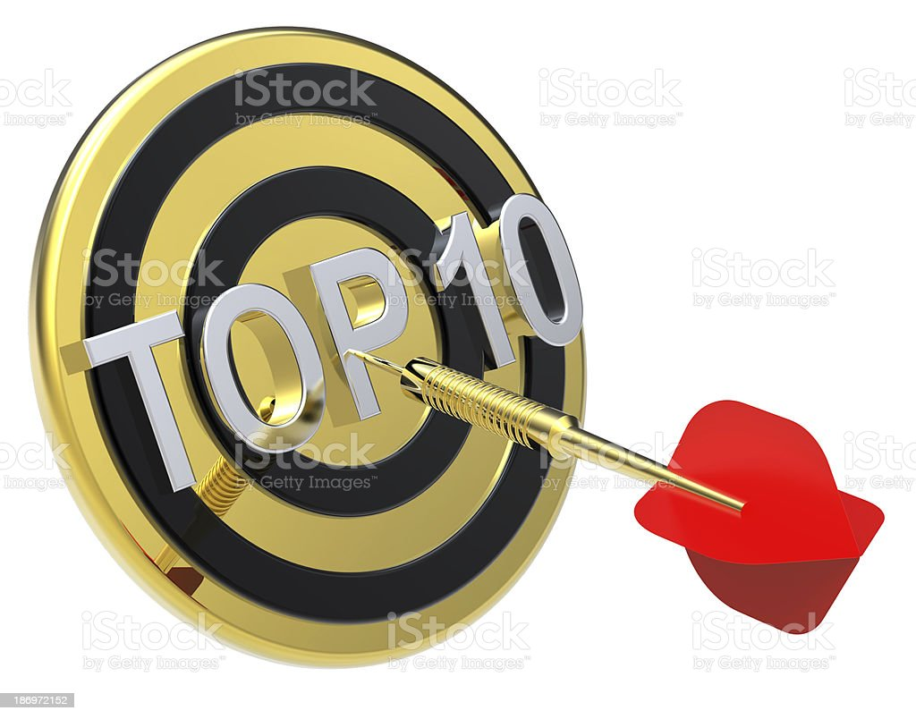 Red dart hiting a gold target with text on it. stock photo