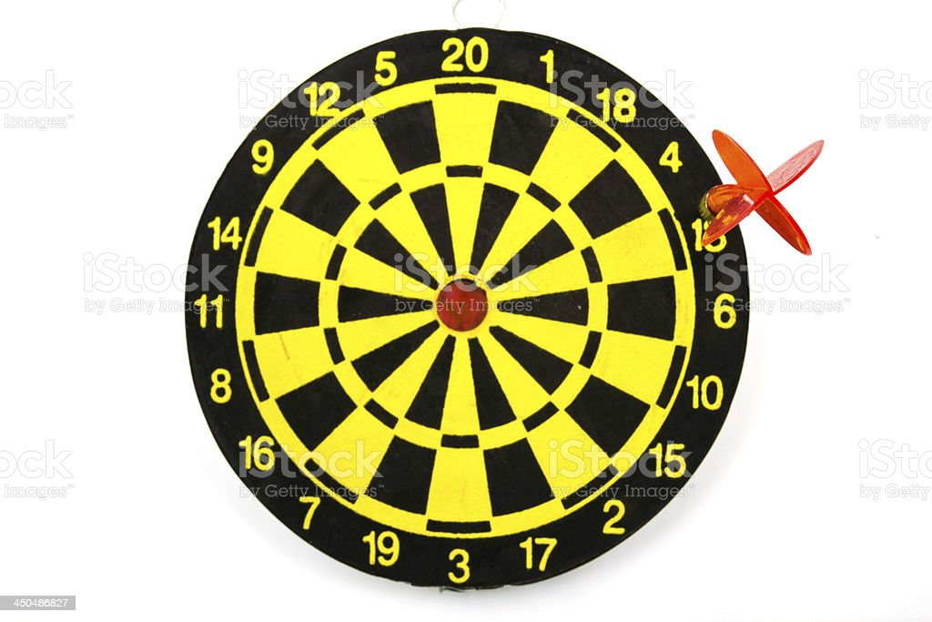 Red dart hitting out of the target royalty-free stock photo