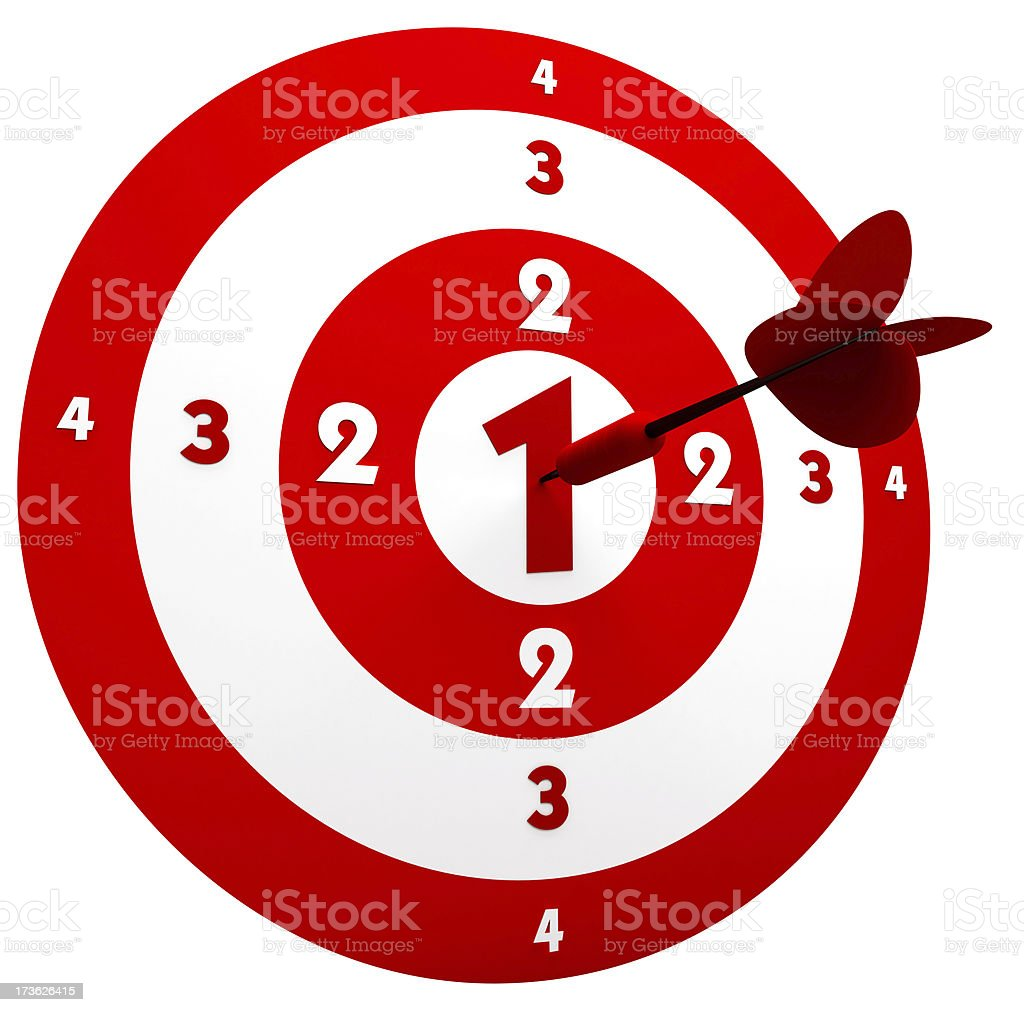 3D Red Dart in Center of Target royalty-free stock photo