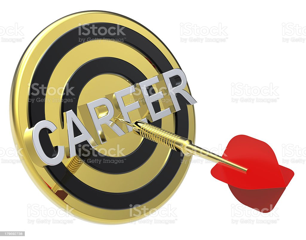 Red dart on a target with gold text. royalty-free stock photo