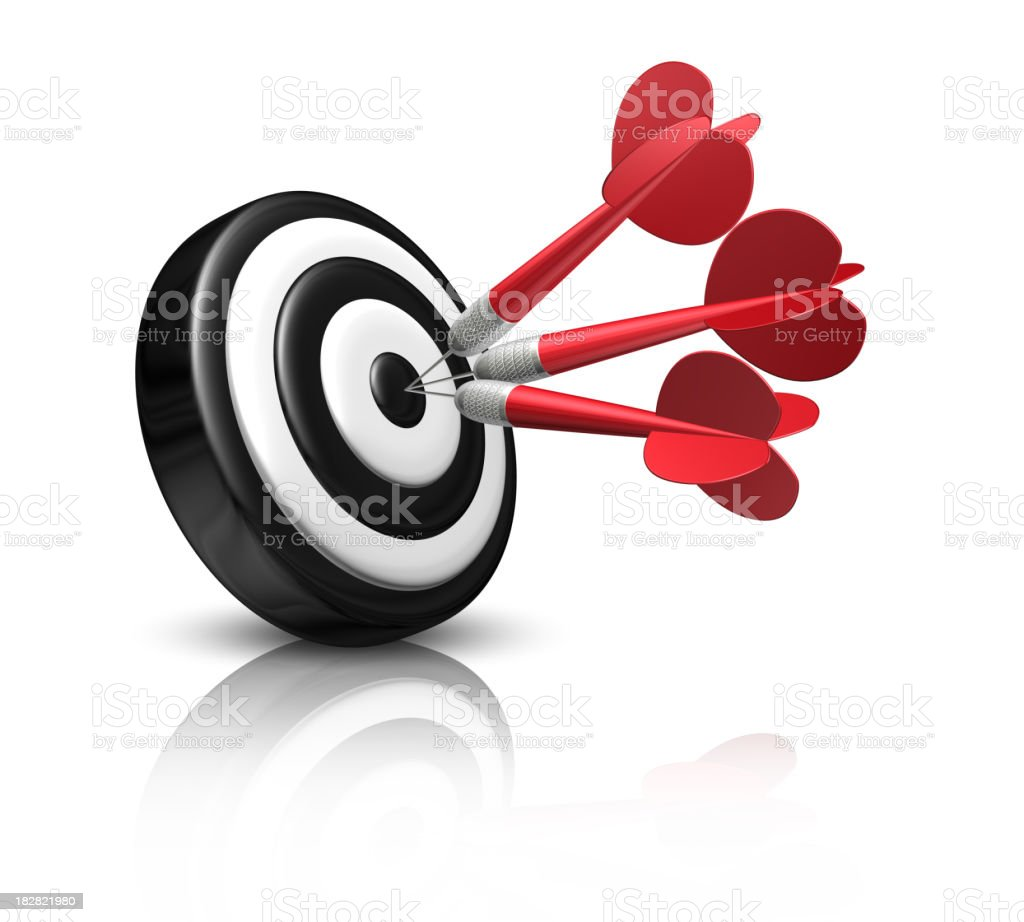 Red darts on black and white target royalty-free stock photo