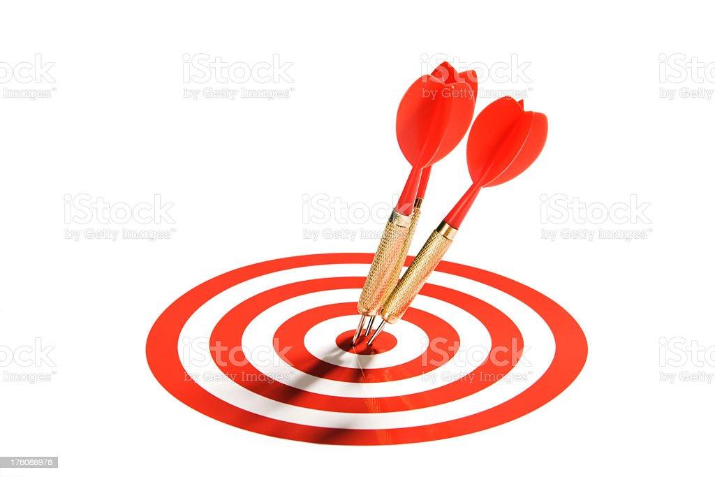 Red Darts Team Hitting Target Bullseye, Winning Business Teamwork Success royalty-free stock photo