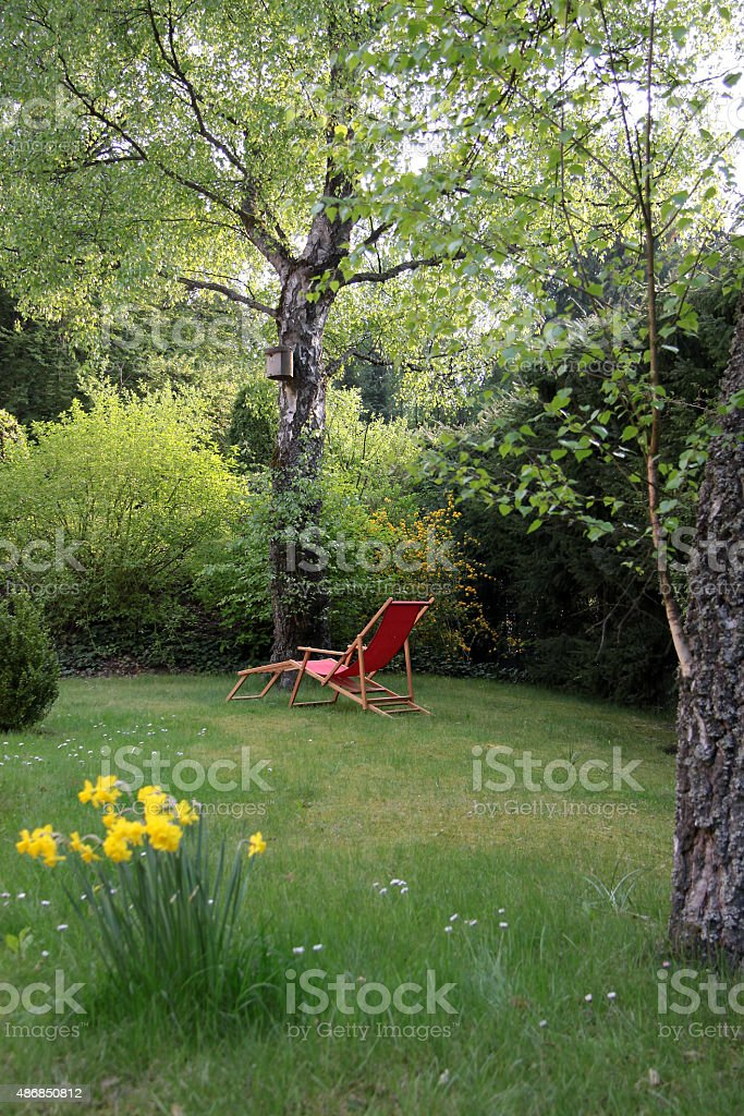 Red deck chair in the garden stock photo
