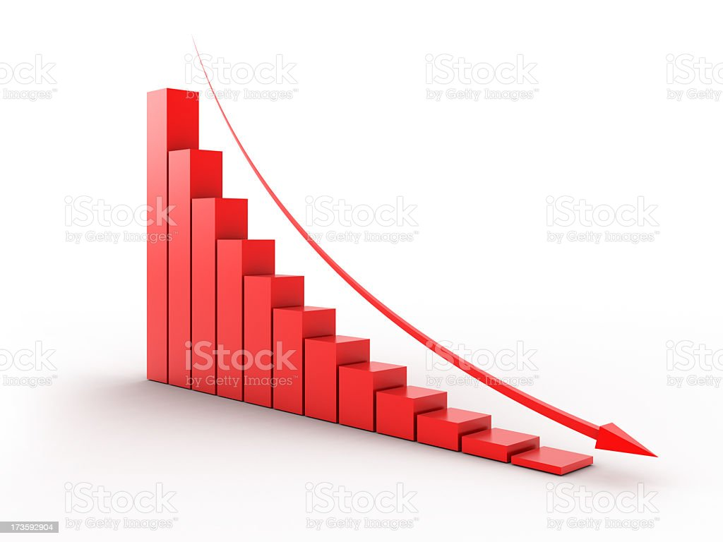 Red, decreasing bar graph with arrow royalty-free stock photo