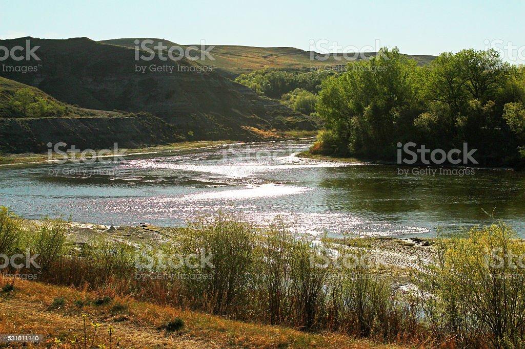 Red Deer River, Drumheller, Alberta stock photo