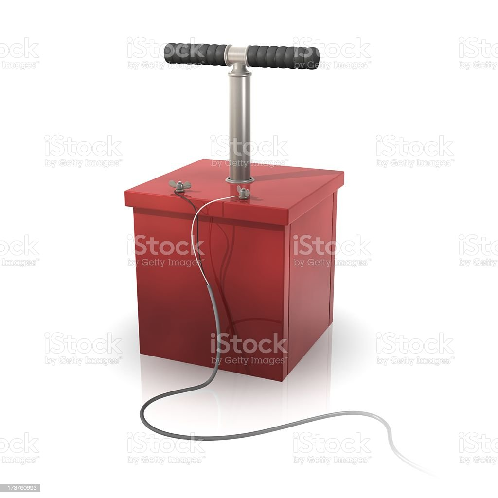 A red detonator on a white background stock photo