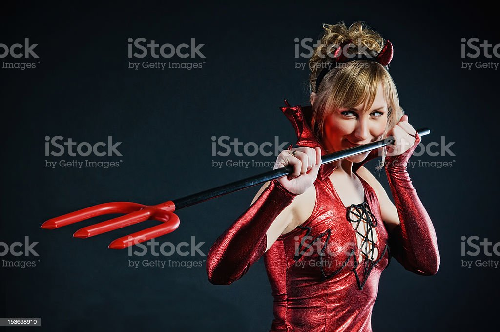 Red devil woman royalty-free stock photo
