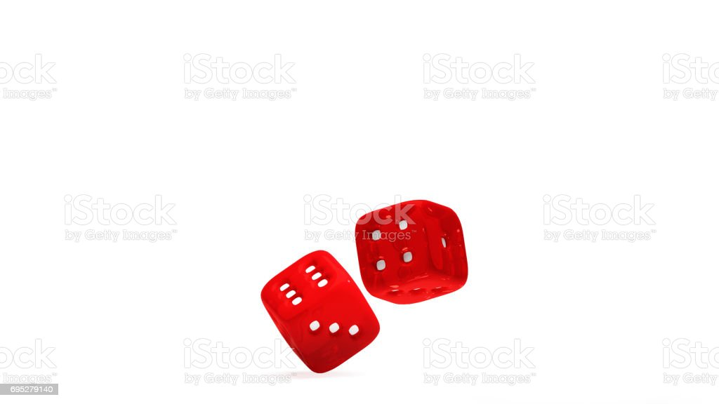 Red dice at different angles  on a white background 3D rendering stock photo