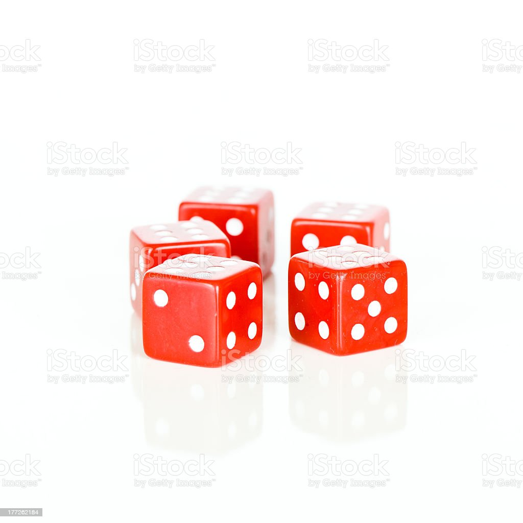 Red dice cubes stock photo