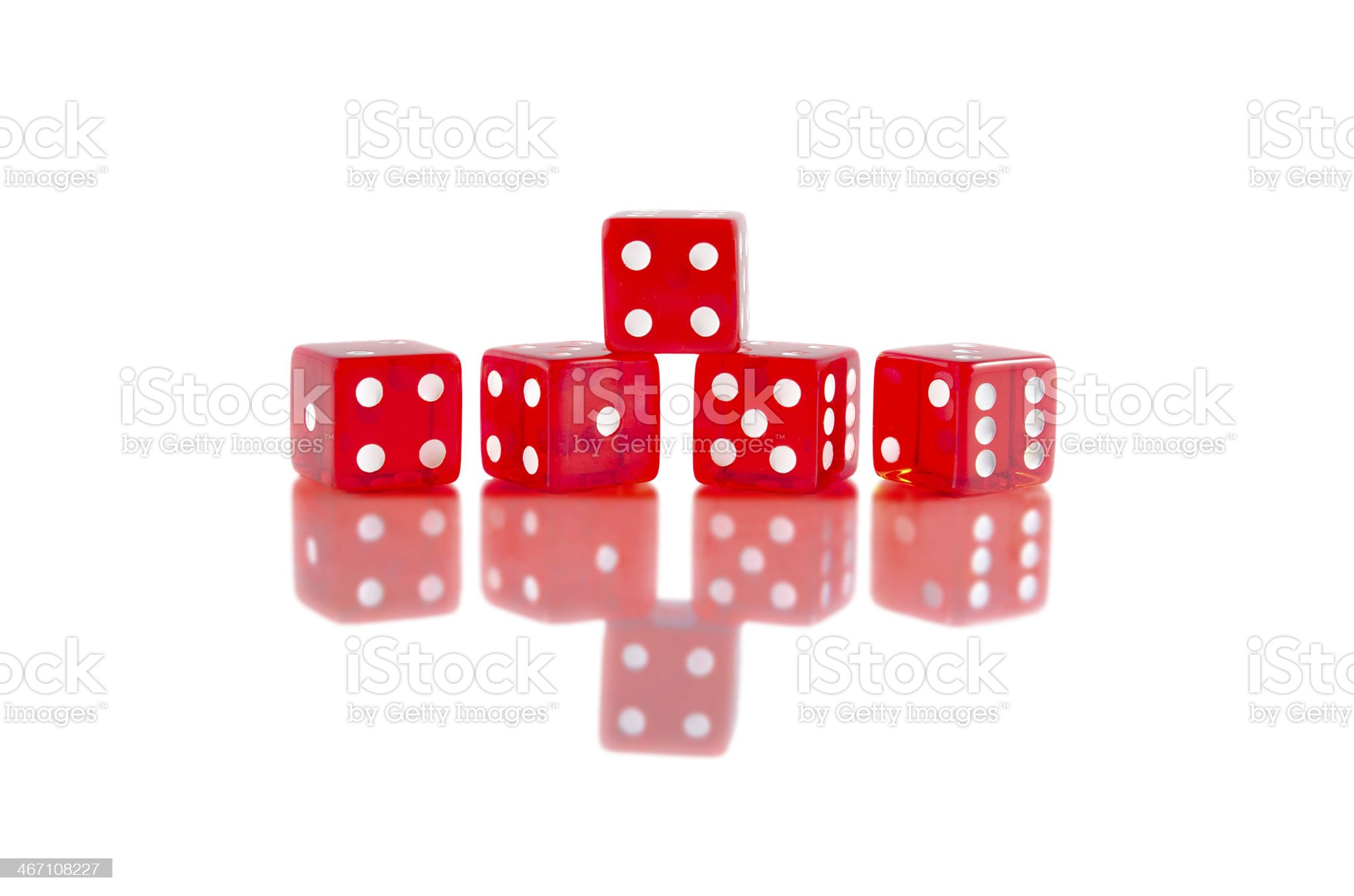 Red dice on white isolated background royalty-free stock photo