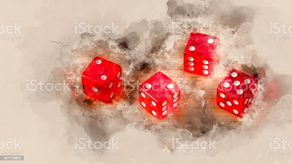 red dice stock photo