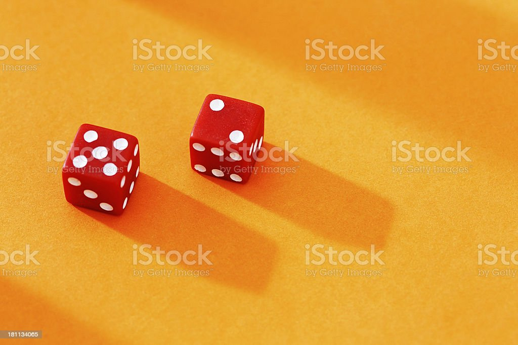 Red dice show 7: lucky for some! royalty-free stock photo