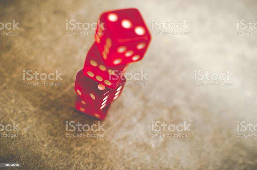 red dice stacked stock photo