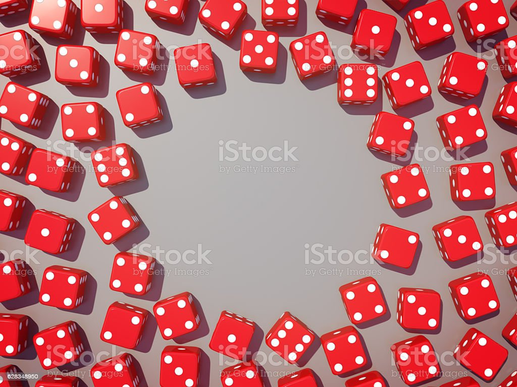 Red dice view from above on glossy background. stock photo