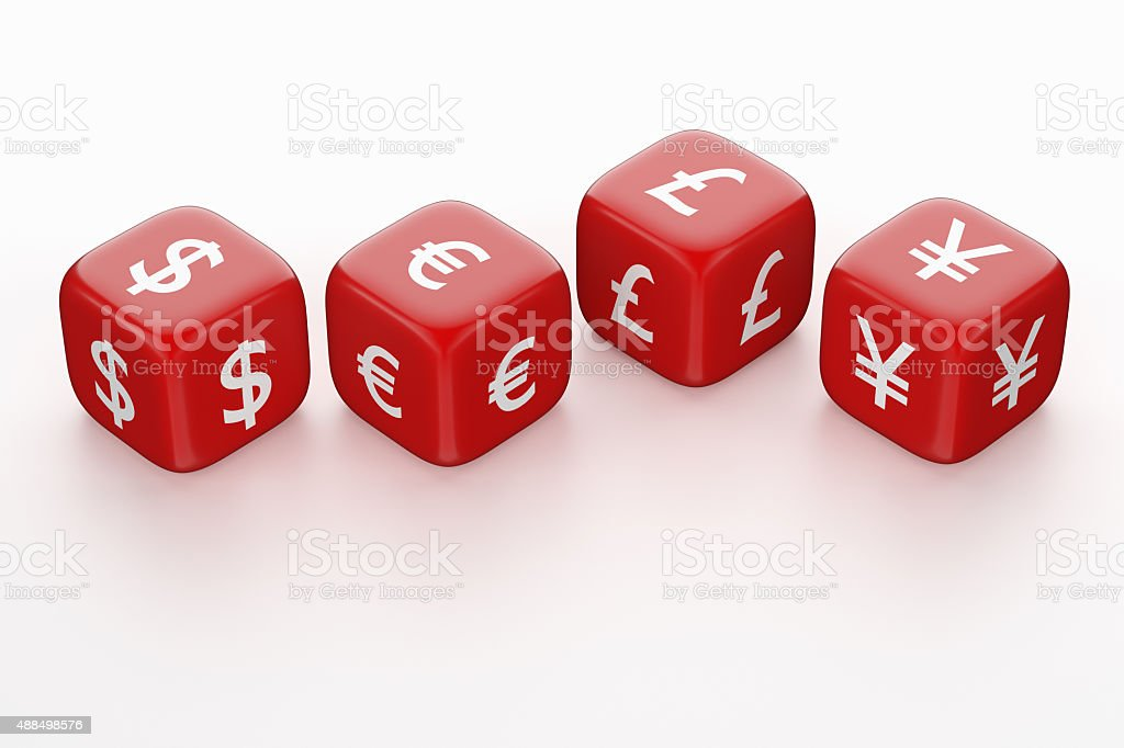 Red Dices with Currency Symbol stock photo