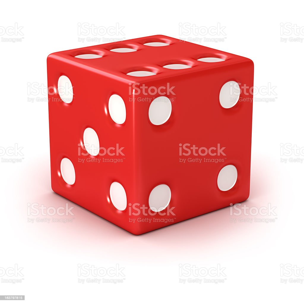 A red die showing the four and five face stock photo