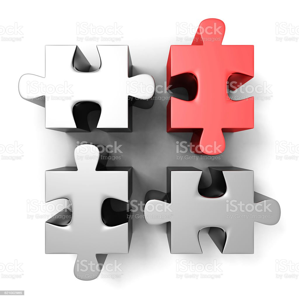 red different individual jigsaw puzzle stock photo