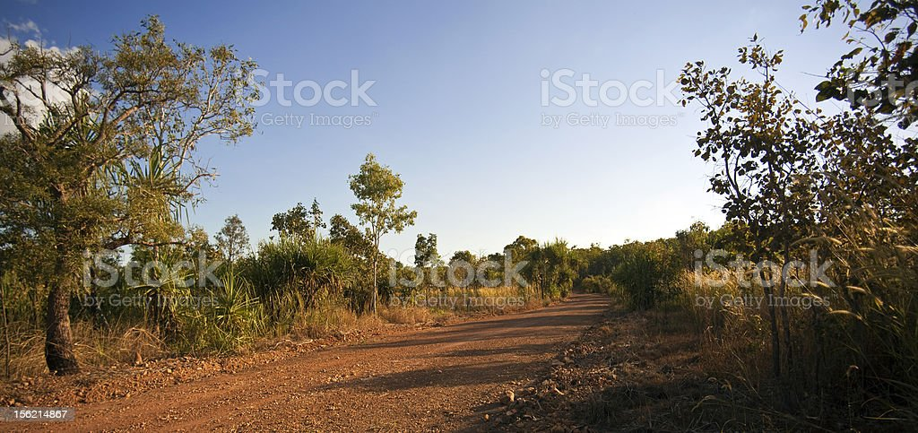 Red Dirt Road, Tropical Bush, Northern Australia, Darwin royalty-free stock photo