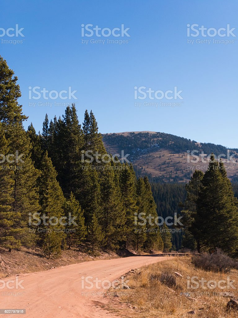 Red Dirt Road with Mountain View stock photo