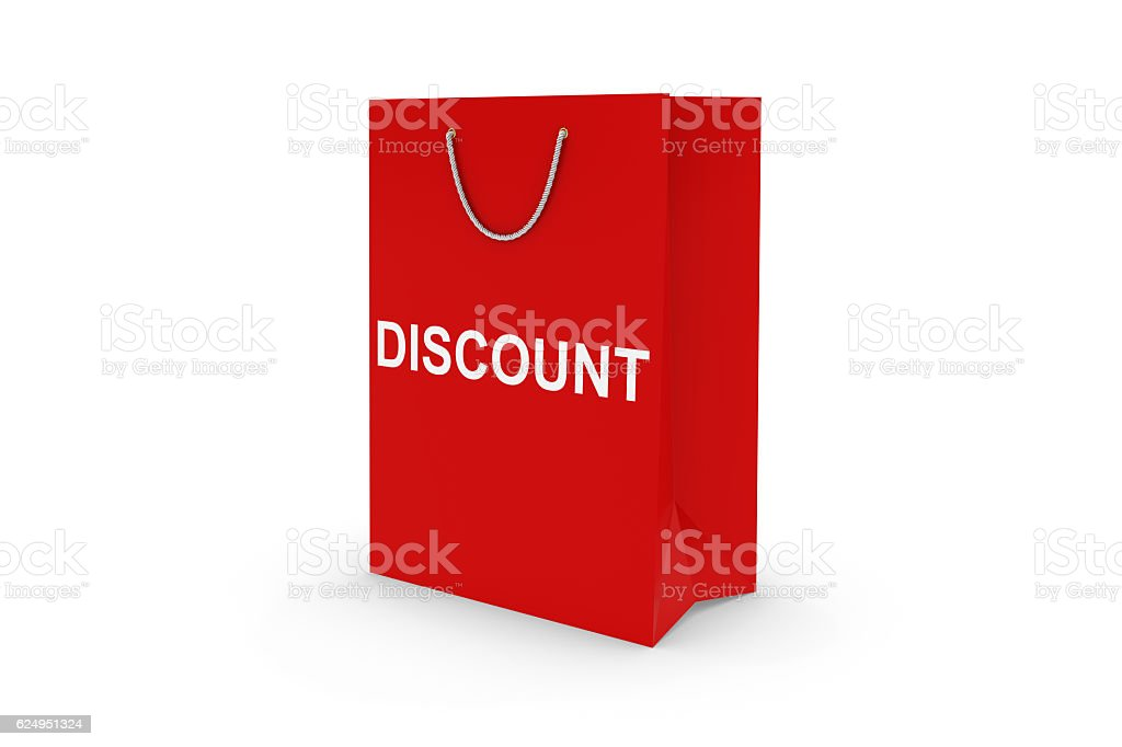 Red DISCOUNT Paper Shopping Bag Isolated on White stock photo
