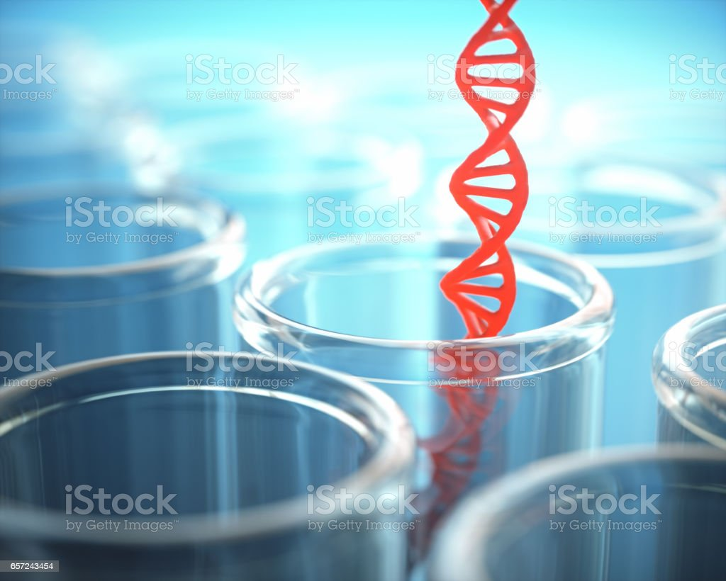 Red DNA Test Tube stock photo