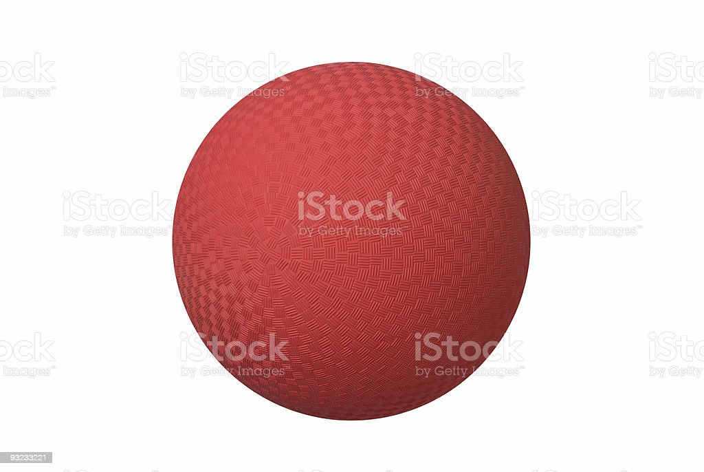 Red dodge ball with tessellated square patterns stock photo