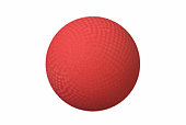 Red dodge ball with tessellated square patterns